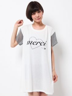 """WORLD WIDE LOVE! (Worldwide Love) Rydia / Merci Kobi meow different materials T dress. NOTE: The French word """"merci"""" means """"thank you"""""""