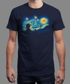 """Super Starry Night"" is today's £8/€10/$12 tee for 24 hours only on www.Qwertee.com Pin this for a chance to win a FREE TEE this weekend. Follow us on pinterest.com/qwertee for a second! Thanks:)"