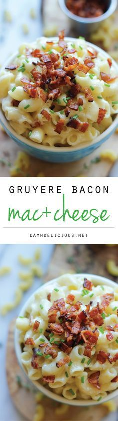 Gruyere Bacon Mac and Cheese - An easy stovetop, no-fuss, 30 min mac and cheese from start to finish! (bacon mac and cheese) I Love Food, Good Food, Yummy Food, Tasty, Great Recipes, Dinner Recipes, Favorite Recipes, Damn Delicious Recipes, Pasta Dishes