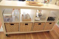 Montessori kitchen space using IKEA shelving.
