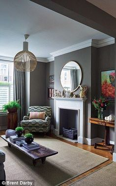 Victorian decor ideas - Victorian living room colours and inspiration for a victorian home including victorian home decor, victorian living room decor traditional styles and victorian house ideas. Dark Living Rooms, Living Room With Fireplace, Living Room Grey, Living Room Interior, Home Living Room, Living Room Designs, Living Room Ideas Terraced House, Dark Grey Dining Room, Above Fireplace Decor