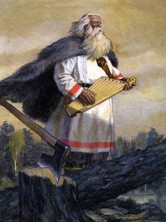 Väinämöinen with his kantele; Kalevala illustration by Nicolai Kochergin Wicca, Ancient Music, Medieval Music, Pagan Symbols, Norse Mythology, Russian Mythology, Fairytale Art, Viking Age, Gods And Goddesses