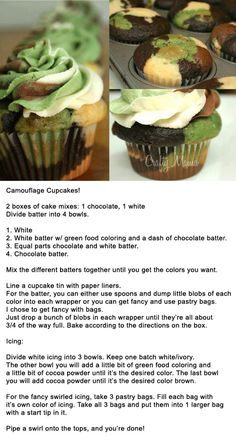 Camouflage Cupcakes, for those Duck Dynasty lovers!!