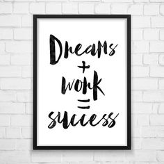 Dreams Work Success Quote Print Watercolor by MotivationalThoughts