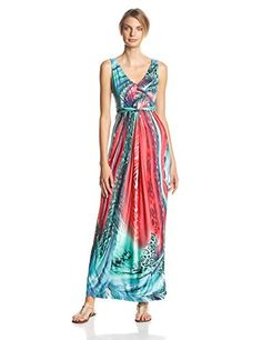 NY Collection Women's Printed Sleeveless Maxi Dress with Center Knot - List price: $70.00 Price: $42.00 Saving: $28.00 (40%)