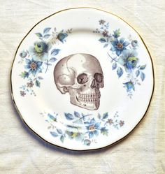 Skull with blue roses and flowers  Vintage China Tea Plate for wall art decorative display