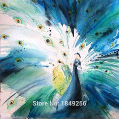 Aliexpress.com : Buy Beautiful proud peacock white and blue ...