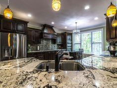 View our kitchen gallery to see for inspiration for your project. We also have free kitchen design tools to help you visualize your new kitchen. Discount Granite Countertops, Green Kitchen Countertops, Cheap Kitchen Appliances, White Granite Kitchen, Delicatus White Granite, Free Kitchen Design, Free Design, Kitchen Gallery