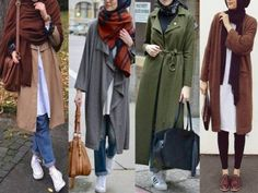 colorful-trench-coats-hijab- Hijab fashion gallery http://www.justtrendygirls.com/hijab-fashion-gallery/