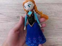 Каркасная кукла Анна Холодное сердце вязаная крючком вяжется из хлопоковой пряжи крючком №1/. Авторская схема от Katkarmela с фото и видео.