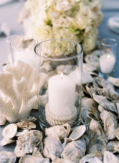 nautical touches - rope candle + oyster shells | Landon Jacob