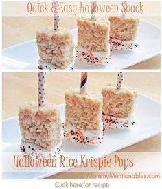 How to make Quick & Easy Halloween Rice Krispie Pops! I made these when by girls were napping. Super easy to make.