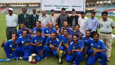 Sindh Disabled Cricket Team with Chief Guests Chief Operating Officer PCB Subhan Ahmed and Regional Head Lahore Central NBP Shahid Iqbal Dar on the Prize Distribution Ceremony of 4th NBP Disabled T-20 Pentangular Cup 2013