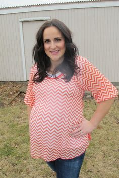 Candace Top in Coral www.flybelly.com FlyBelly Maternity  $27 Coral Chevron Maternity Shirt