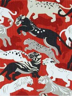 """Rajita Tiger Persimmon - Dwell Studio Fabric - Exclusive Robert Allen Design. Transitional tiger print on durable 100% cotton. Perfect for furniture upholstery or window treatments. 50,000 double rubs. Repeat; V 25.25"""" x H 27"""". UFAC; Class 1. 55"""" wide."""