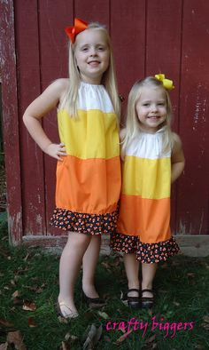 Candy Corn Pillowcase Dresses - Tutorial