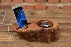Wood+stand+for+iPhone,+Watch+Holder,+Dock+station,+iPhone+charging+stand,+Samsung+Galaxy+S7+dock,+Best+Gift+for+Him,+Driftwood+Phone+Stand