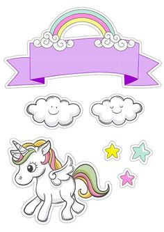 Bolo My Little Pony, My Little Pony Unicorn, Baby Unicorn, Rainbow Unicorn, Little Poney, Unicorn Birthday Parties, Kawaii Drawings, Planner Stickers, Cake Toppers