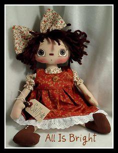 Raggedy Ann Cloth Doll Sally by Allisbright on Etsy, $34.00