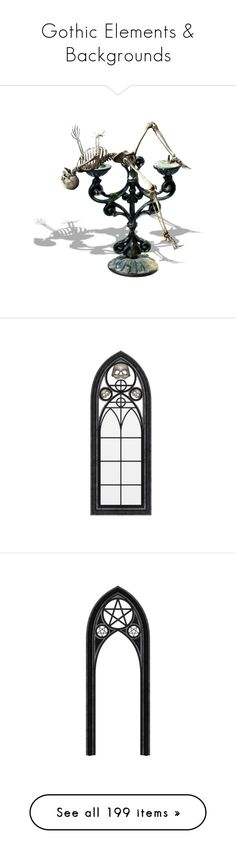 """""""Gothic Elements & Backgrounds"""" by duchessbee ❤ liked on Polyvore featuring halloween, filler, gothic, frame, items, fillers, decor, accessories, furniture and windows"""