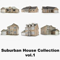 hi-poly cottages vol 1 max House 3d Model, Suburban House, Cottages, Scale, Mansions, House Styles, Weighing Scale, Cabins, French Country Cottage