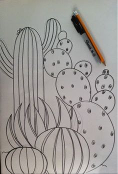 """I love """"Practice Cactus"""" because it is an easy and beautiful way to teach kids how to use natural contour line to transform a 2D ..."""