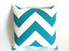 One True Turquoise Teal Chevron Decorative Pillow Cover- Huge Chevron Print!