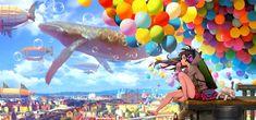 e anime girls aircraft barefoot bubbles cat city clouds headphones long hair skirt colorful sky balloon fantasy art whale Disney Jr, Fan Art Anime, Cat City, Girl Posters, Japanese Graphic Design, Anime Kunst, Anime Scenery, Drawing People, Manga Art