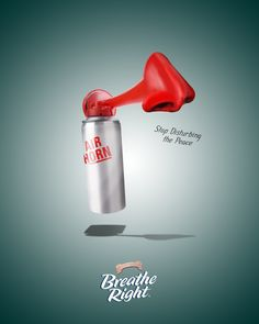 This advertisement for Breathe Right shows how using their products stops people from snoring and 'disturbing the peace'. People who have nasal congestion are the target audience for this brand and this advertisement. Ad Of The World, School Of Visual Arts, Nasal Congestion, Social Media Design, Ad Design, Print Ads, Inventions, Breathe, Advertising