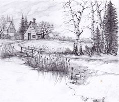 landscape drawings pencil drawing sketches place nature easy scenery sketch zeichnen vacation nice desenhos lukisan sungai rumah landscapes simple tepi