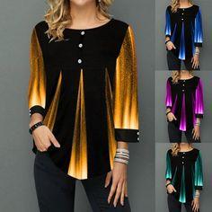 Bluză modernă pentru femei, cu model asimetric și mânecă trei sferturi, culori în degrade, bluză casual cu decolteu rotund - reducere 46% ! Casual, Sweaters, Shopping, Fashion, Moda, La Mode, Pullover, Sweater, Fasion