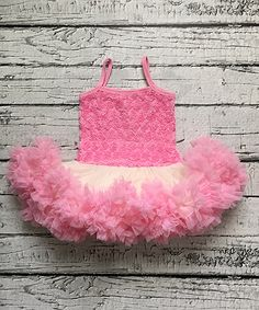 Look at this Chicaboo Pink & Ivory Vintage Rosette Petti Dress - Infant, Toddler & Girls on #zulily today!