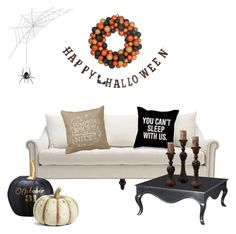 """You can't sleep with us. Halloween edition!"" by the-wanderlusted ❤ liked on Polyvore featuring interior, interiors, interior design, home, home decor, interior decorating, Creative Co-op, Allstate Floral and K&K Interiors"