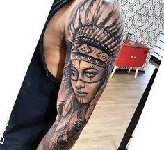 Super tattoo sleeve tribal native american + ideas – Tattoo World Indian Women Tattoo, Native Indian Tattoos, Indian Girl Tattoos, Indian Skull Tattoos, Western Tattoos, Native American Tattoos, Indian Headdress Tattoo, Indian Tattoo Design, Wrist Tattoos For Guys