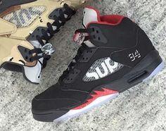 "A First Look at the Supreme x Air Jordan 5 ""Bred"""