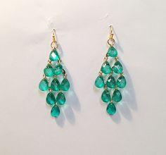Emerald Green Cascading Teardrop Earrings green by AllMyAdornments, $6.00
