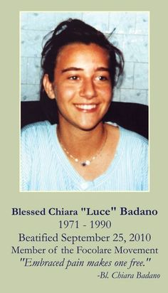 "Blessed Chiara ""Luce"" Badano Prayer Card (prayer here also)"