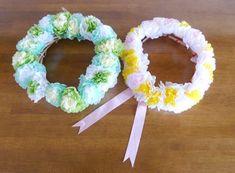 100均のお花紙が、ふんわり華やかフラワーリースに♪花冠にも変身   ぎゅってWeb