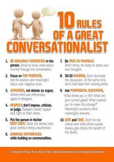 It's really hard sometimes to have a conversation. This list is full of ideas that can help you have a great conversation. My favorites are #2, 4 and 10, as they really help one to have a positive, balanced conversation no matter how awkward or tricky the subject may be. What are your favorites? www.GuyStuffCounseling.com