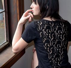 Night Black Lace Tunic  sheer back with boatneck cut by Minxshop on etsy.com. $90.00 Beautiful lace insert!