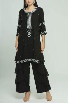 Buy Embroidered Kurta Set by Neeta Lulla at Aza Fashions Neeta Lulla, India Usa, Sequins, Tunic Tops, Indian, Fabric, Sleeves, Stuff To Buy, Fashion Design