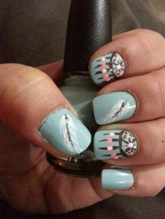 Dream catcher and feather nail art - painted freehand by Boutiqueful Nails