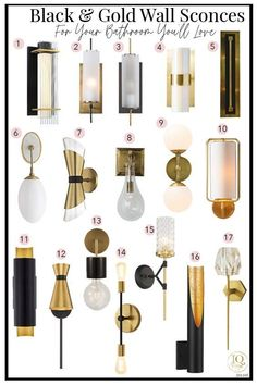 Black and gold wall sconce ideas to update your bathroom, living room or bedroom today. #lighting #sconce