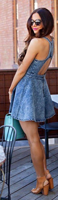 Nordstrom Moto Backless Denim Babydoll Dress