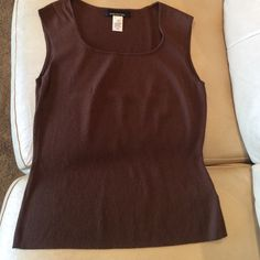 Brown Knit Tank Top Dressy knit sleeveless top with a scoop beck. Jones New York Tops Tank Tops