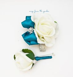 Teal and White with Rhinestones Real Touch Rose Wedding Boutonniere Wedding Corsage Mother of the Bride Father Flowers Prom Corsage by SongsFromTheGarden on Etsy