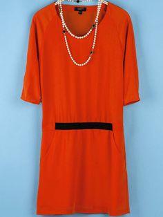 Orange V Neck Half Sleeve Pockets Loose Dress US$23.41