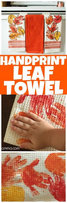 This Hand print leaf towel craft is perfect for the kids. This easy fall craft i… This Hand print leaf towel craft is perfect for the kids. This easy fall craft is adorable when finished and so much fun to make! Fall Crafts For Toddlers, Easy Fall Crafts, Thanksgiving Crafts, Crafts To Do, Diy For Kids, Holiday Crafts, Gifts For Kids, Projects For Kids, Santa Crafts