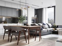 Este posibil ca imaginea să conţină: masă, camera de zi şi interior Living Room Modern, Home Living Room, Lobby Design, Apartment Interior, Dining Table, Indoor, Furniture, Home Decor, Open Space