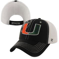 c53a550afe3  47 Brand Miami Hurricanes Mikita Operation Hat Trick Adjustable Hat -  Black White